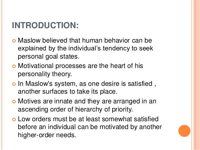maslows hierarchy of needs definition