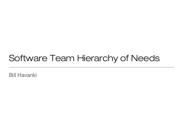 Software Team Hierarchy of Needs Bill Havanki