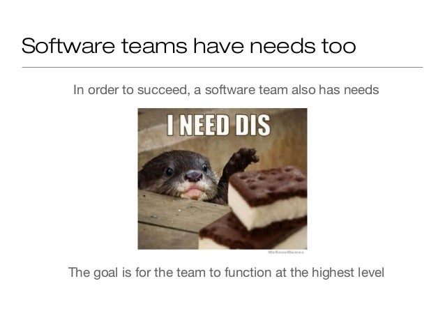 The idea for this talk A software team will reach the highest level by satisfying its needs, starting from the most basic ...