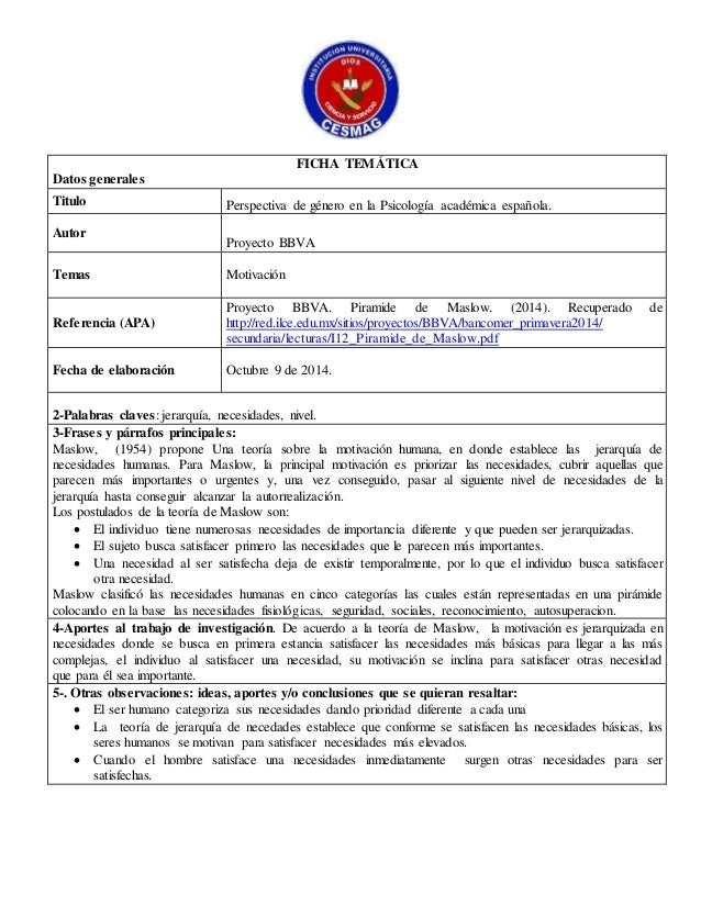 FICHA TEMÁTICA  Datos generales  Titulo Perspectiva de género en la Psicología académica española.  Autor  Proyecto BBVA  ...