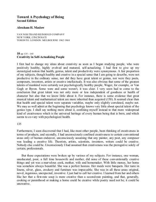 Toward A Psychology of Being Second Edition Abraham H. Maslow VAN NOS/TRAND REINHOLD COMPANY NEW YORK, CINCINNATI TORONTO....