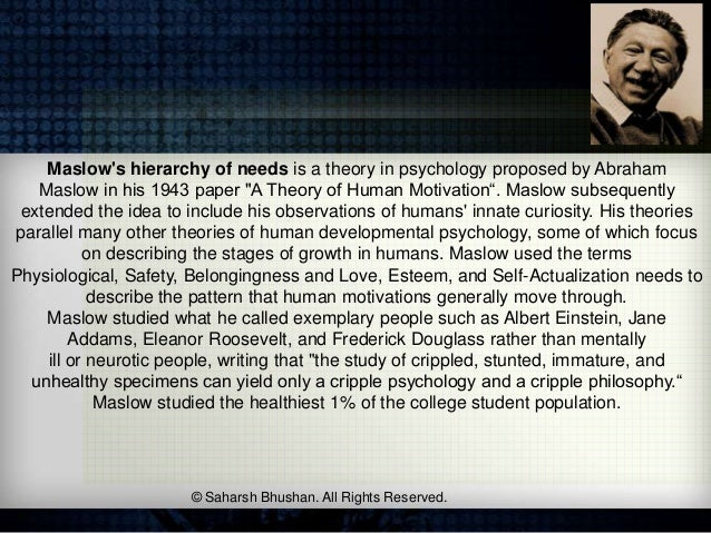"""Maslows hierarchy of needs is a theory in psychology proposed by Abraham   Maslow in his 1943 paper """"A Theory of Human Mot..."""