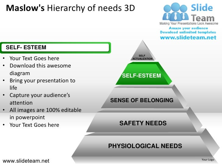 Maslow 39 s hierarchy of needs 3d powerpoint ppt slides for Self esteem powerpoint templates