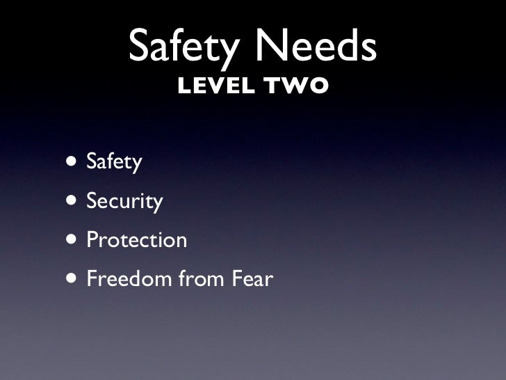 Safety Needs           LEVEL TWO   • Safety • Security • Protection • Freedom from Fear