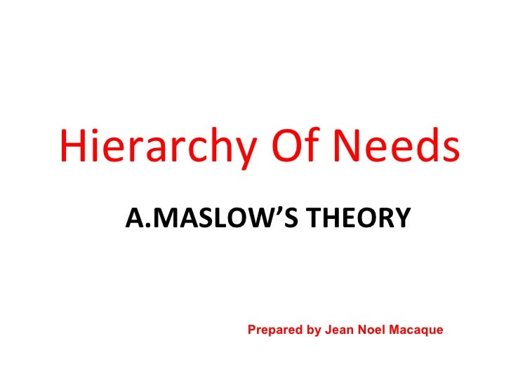A.MASLOW'S THEORY <ul><li>Hierarchy Of Needs </li></ul>Prepared by Jean Noel Macaque June  2009