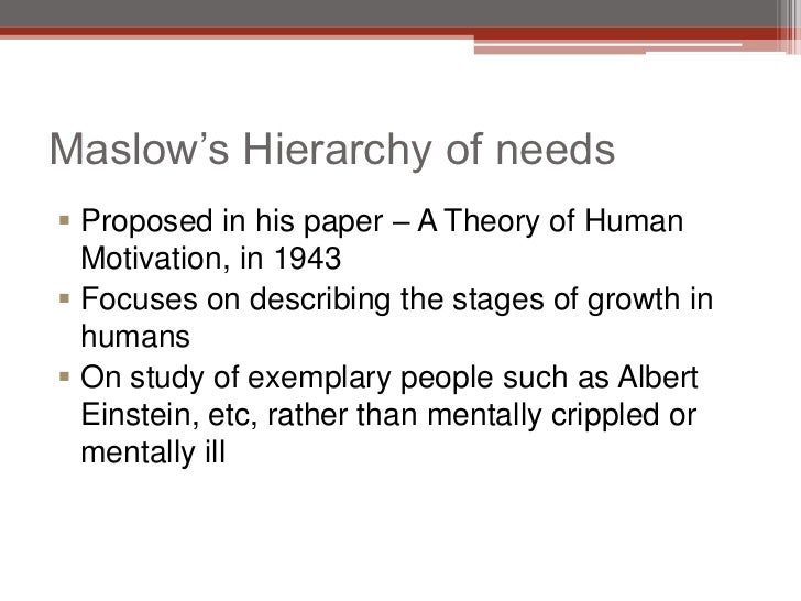 maslows theory of motivation hierarchy