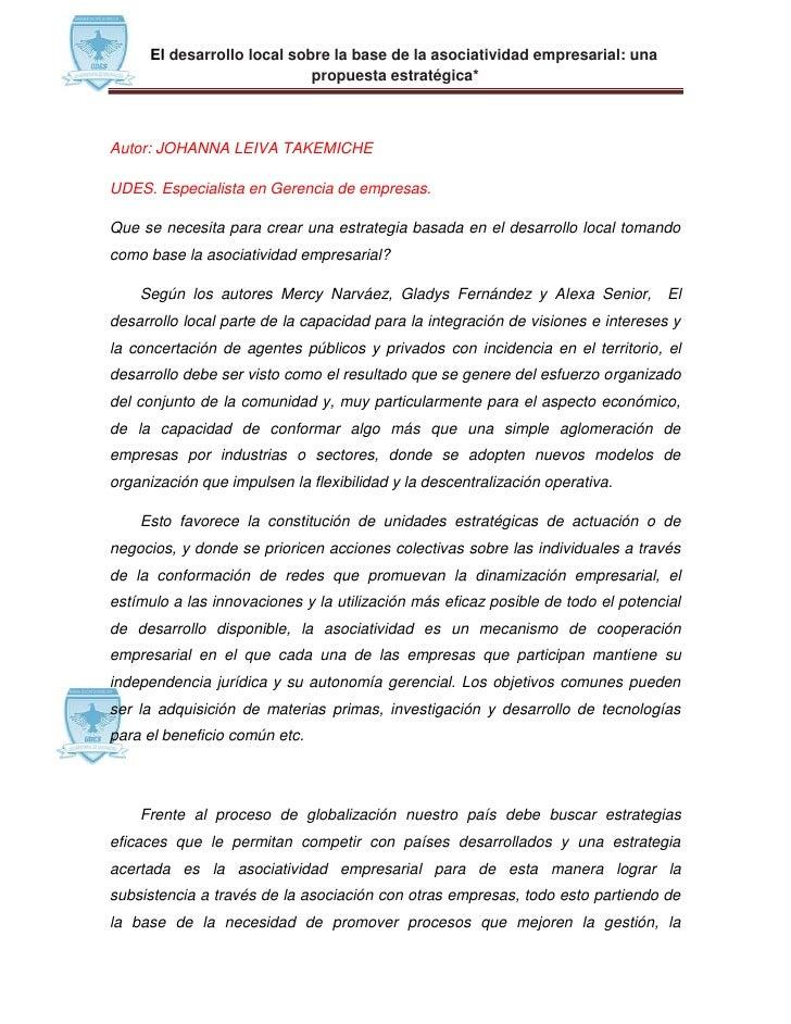 El desarrollo local sobre la base de la asociatividad empresarial: una                             propuesta estratégica*A...