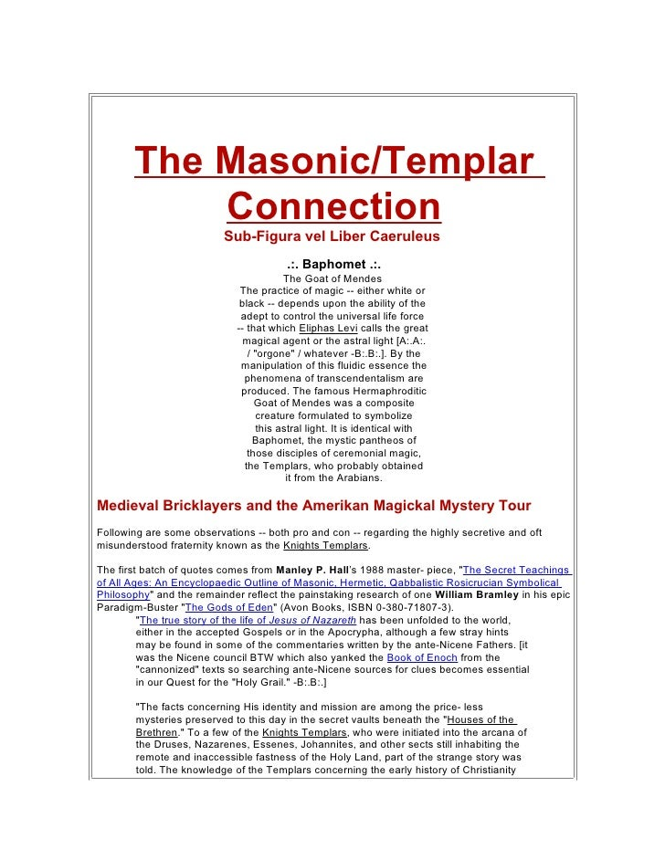 The Masonic/Templar            Connection                           Sub-Figura vel Liber Caeruleus                        ...