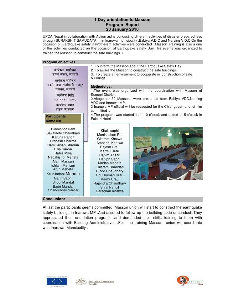 1 Day orientation to Masson                                          Program Report                                       ...