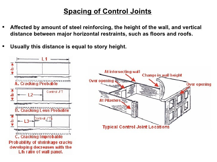 <ul><li>Spacing of Control Joints </li></ul><ul><li>Affected by amount of steel reinforcing, the height of the wall, and v...