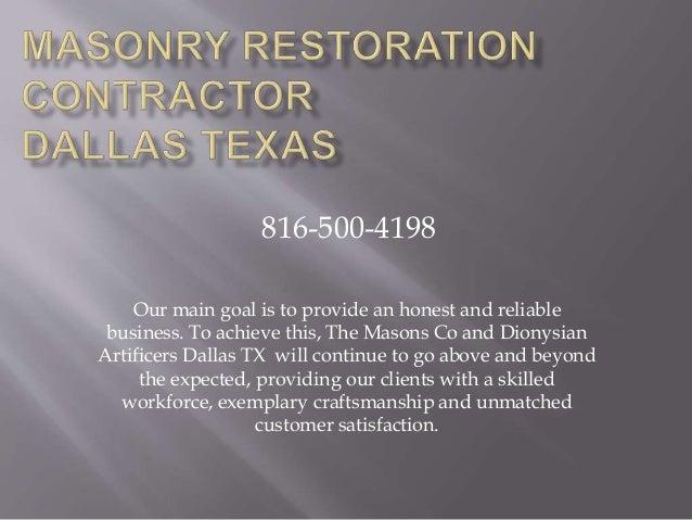 Masonry Restoration Contractor Dallas Tx 816-500-4198