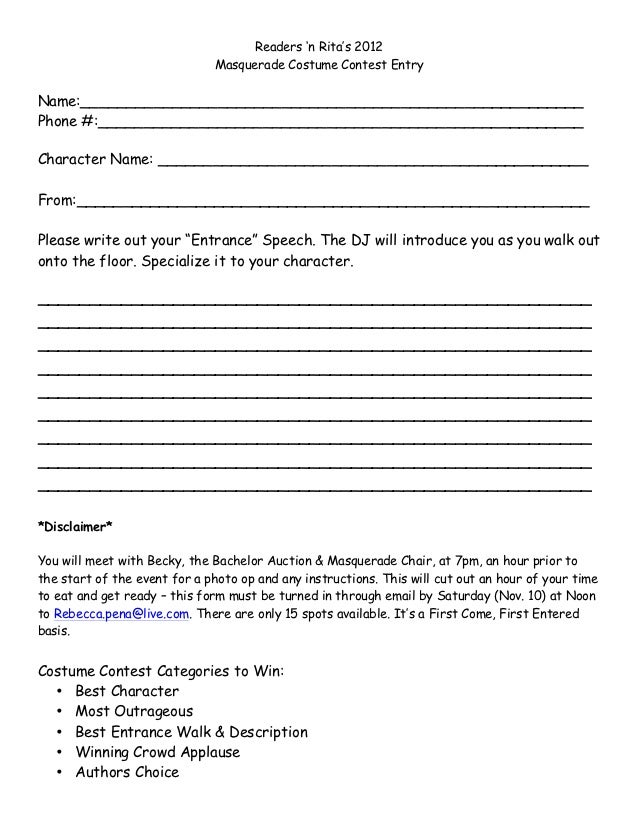 Masquerade Costume Contest Sign Up Form 2012
