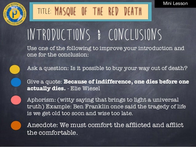 Masque Red Death Lesson Plan Friday