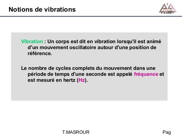 Notions de vibrations  Vibration : Un corps est dit en vibration lorsqu'il est animé d'un mouvement oscillatoire autour d'...