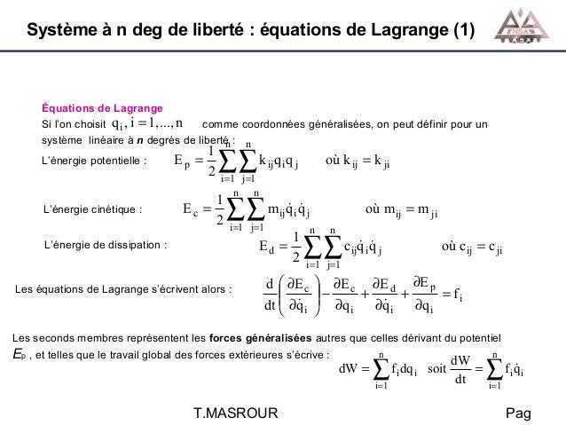 Système à n deg de liberté : équations de Lagrange (1)  Équations de Lagrange Si l'on choisit q i , i = 1,..., n comme coo...