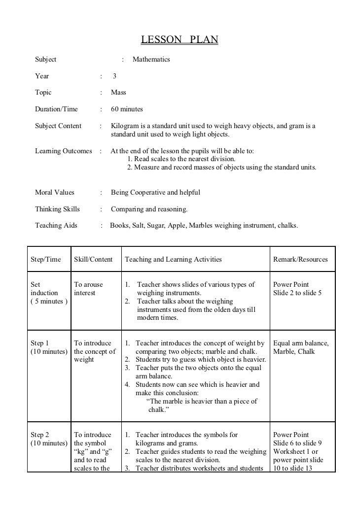 LESSON PLAN Subject                          :     Mathematics Year                 :       3 Topic                :   Mas...