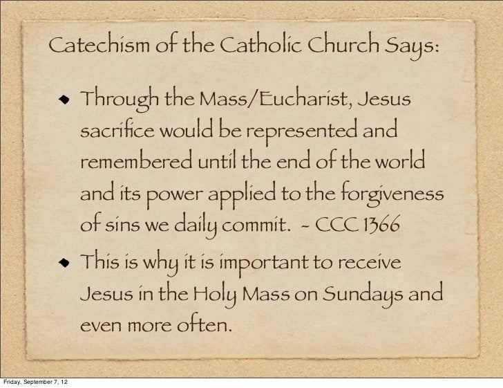 importance of eucharist in the catholic Catholics go to mass every sunday to participate in sacred worship and rituals the service holds utmost importance in their lives because it allows them to receive the holy eucharist, or.