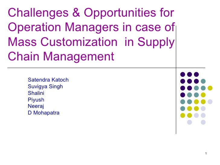 Challenges & Opportunities for  Operation Managers in case of Mass Customization  in Supply Chain Management  Satendra Kat...