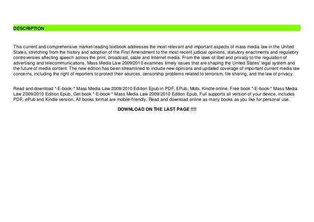 *-E-book-* Mass Media Law 2009/2010 Edition Epub Slide 3