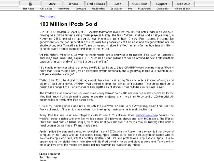 WORKS CITED  quot;100 Million iPods Sold.quot; Apple.     09 April 2007. Apple Inc. 17 Jun 2007     <http://www.apple.com/...