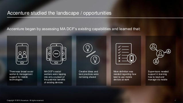 4Copyright © 2016 Accenture All rights reserved. Accenture began by assessing MA DCF's existing capabilities and learned t...