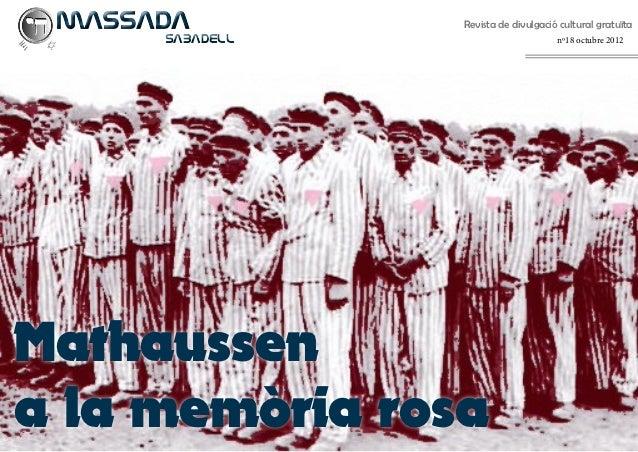 MASSADA        Revista de divulgació cultural gratuïta SABADELL                        nº18 octubre 2012Mathaussena la...