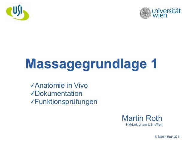 Massagegrundlage 1  © Martin Roth 2011  ✓Anatomie in Vivo  ✓Dokumentation  ✓Funktionsprüfungen  !  Martin Roth  HM/Lektor ...