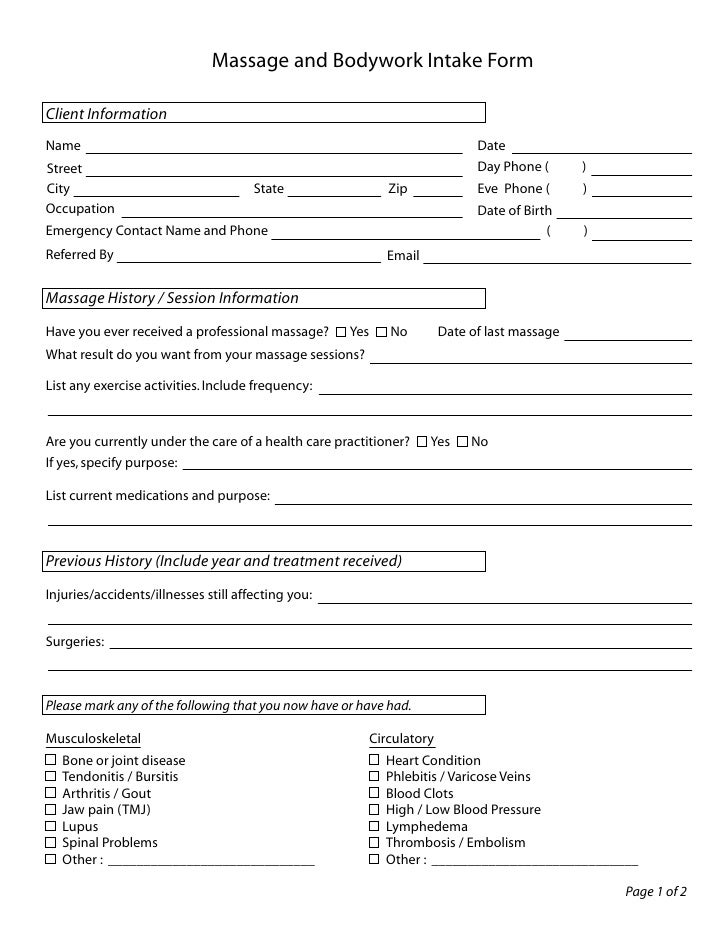 massage client intake form template Quotes