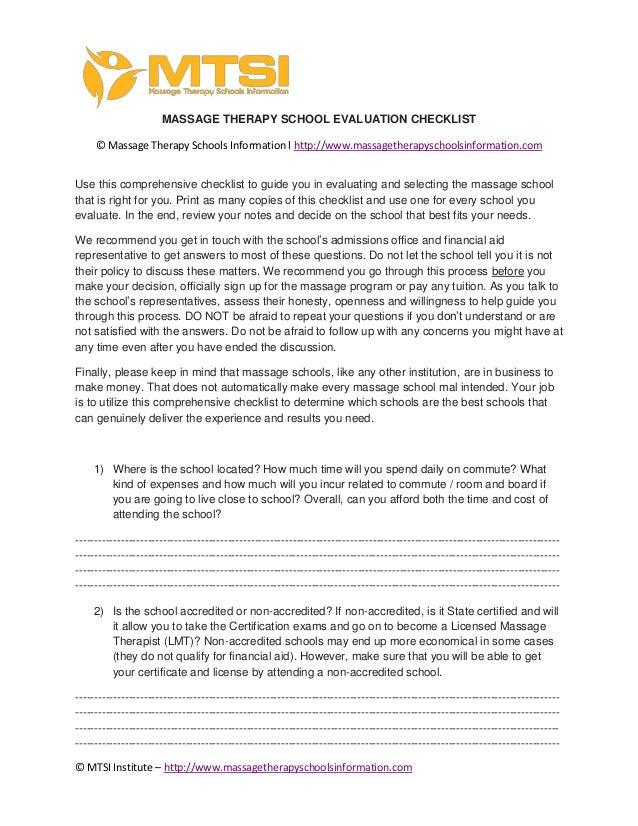 © MTSI Institute – http://www.massagetherapyschoolsinformation.com MASSAGE THERAPY SCHOOL EVALUATION CHECKLIST © Massage T...