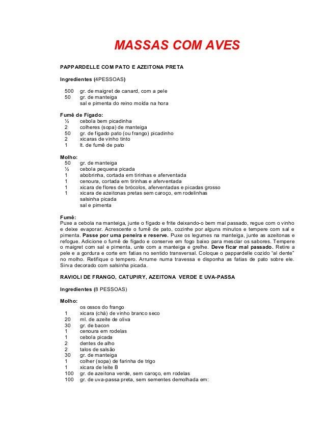 MASSAS COM AVES PAPPARDELLE COM PATO E AZEITONA PRETA Ingredientes (4PESSOAS) 500 50  gr. de maigret de canard, com a pele...