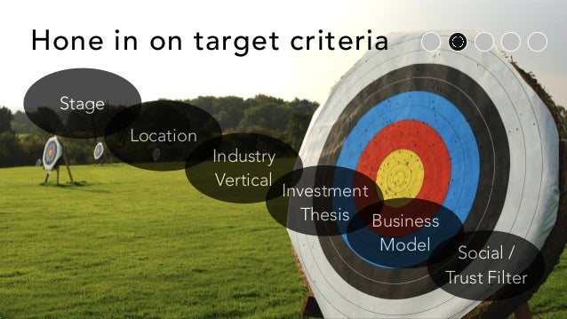 Hone in on target criteria Stage Location Industry Vertical Investment Thesis Business Model Social / Trust Filter