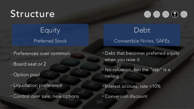 Structure • Preferences over common • Board seat or 2 • Option pool • Liquidation preference • Control over sale, new opti...