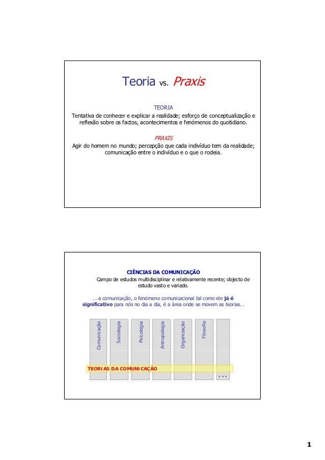 Teoria          vs.            Praxis                                  TEORIATentativa de conhecer e explicar a realidade;...