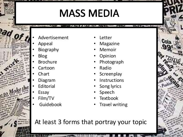 "writing for mass media syllabus The project can be all writing, but a multimedia or interactive project would also be  one thought on "" introduction to mass media (honors) syllabus ."