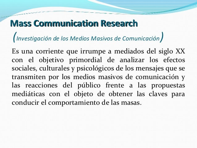 Research and mass communication enrollment