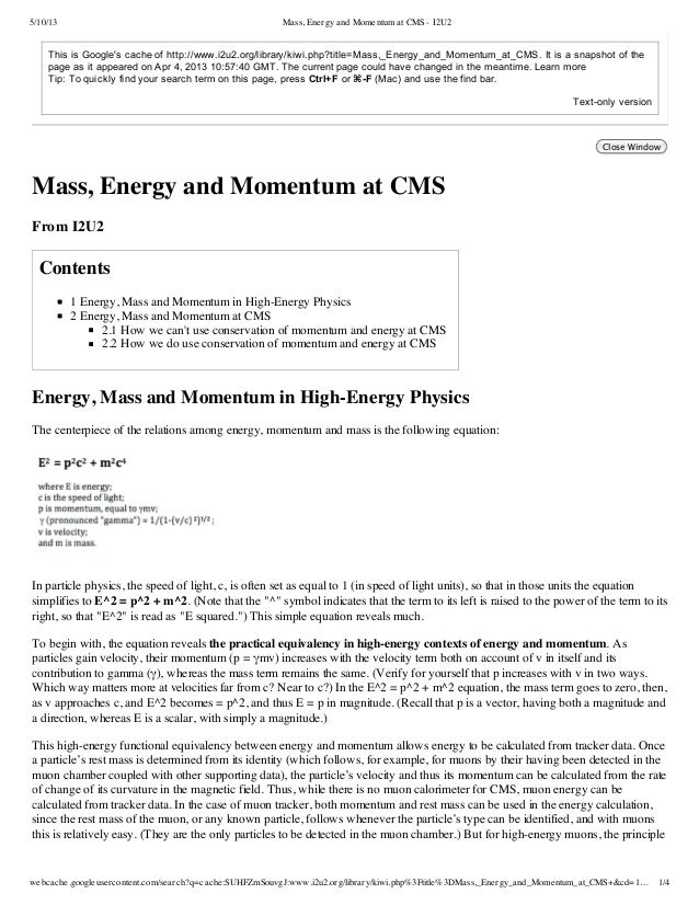 5/10/13 Mass, Energy and Momentum at CMS - I2U2webcache.googleusercontent.com/search?q=cache:SUHFZmSouvgJ:www.i2u2.org/lib...
