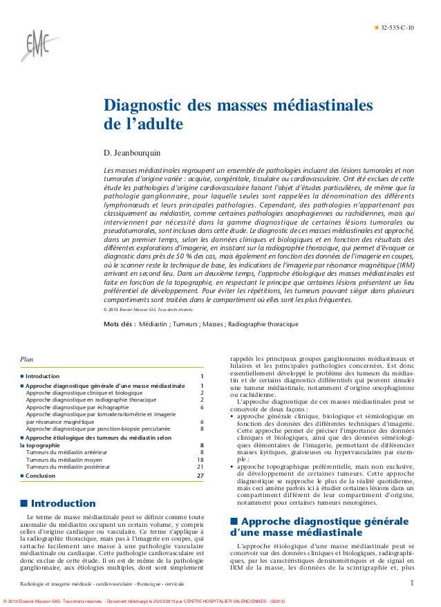¶ 32-535-C-10                                              Diagnostic des masses médiastinales                            ...