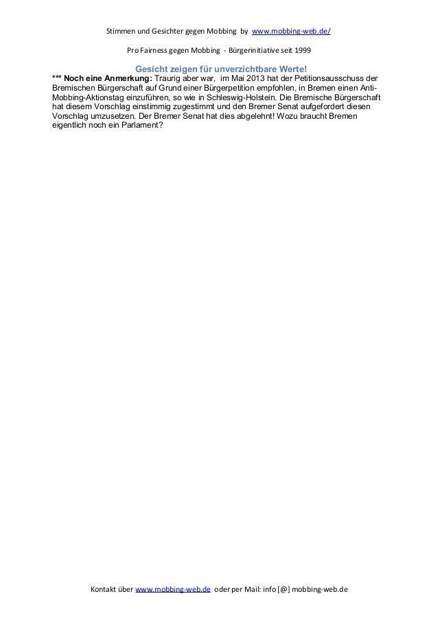 Stimmen und Gesichter gegen Mobbing by www.mobbing-web.de/ Pro Fairness gegen Mobbing - Bürgerinitiative seit 1999 Gesicht...