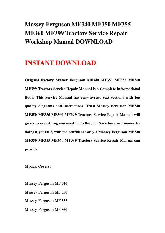 Massey Ferguson 399 Workshop Manual Free Download