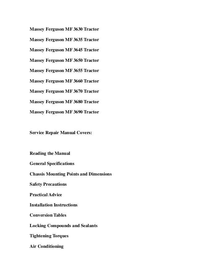 Massey ferguson mf3610 mf3630 mf3635 mf3645 mf3650 mf3655 mf3660 mf3670 mf3680 mf3690 tractors service repair workshop manual download Slide 2
