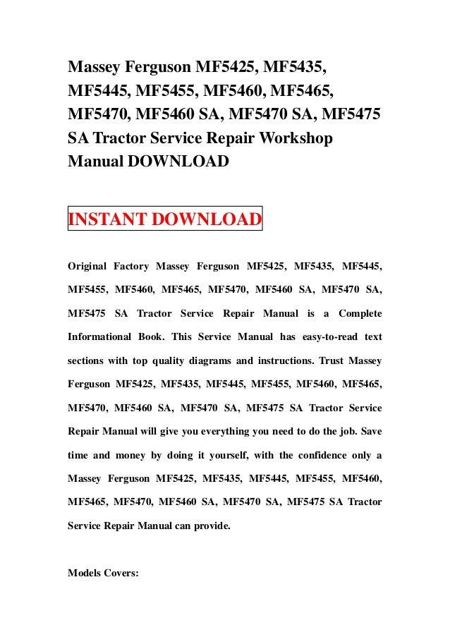 Massey Ferguson Mf5425  Mf5435  Mf5445  Mf5455  Mf5460