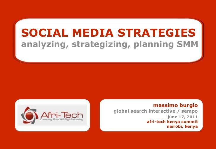SOCIAL MEDIA STRATEGIESanalyzing, strategizing, planning SMM                                  massimo burgio              ...
