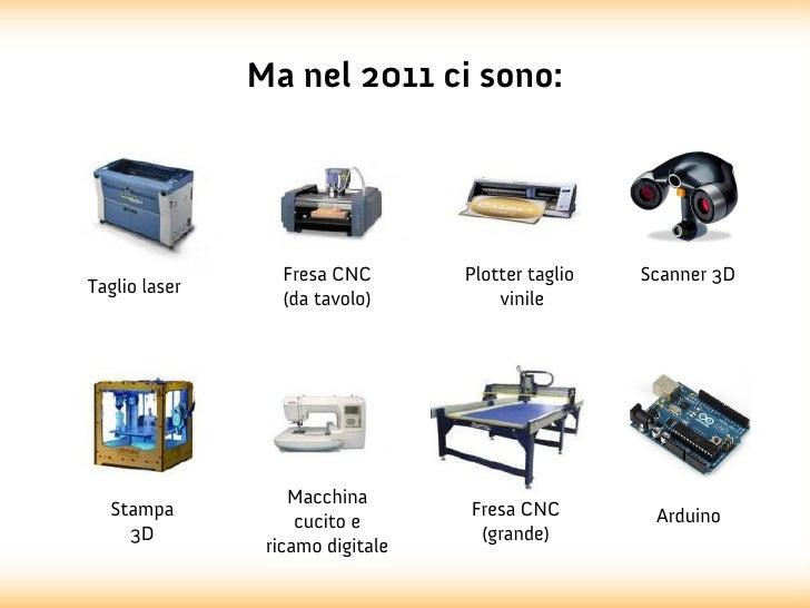 Ma nel 2011 ci sono:                  Fresa CNC       Plotter taglio   Scanner 3DTaglio laser                  (da tavolo)...