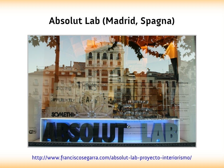 Absolut Lab (Madrid, Spagna)http://www.franciscosegarra.com/absolut-lab-proyecto-interiorismo/