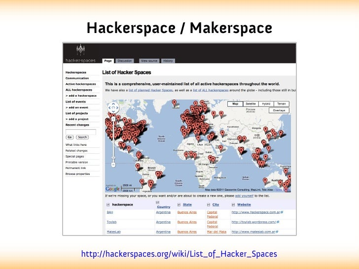 Hackerspace / Makerspacehttp://hackerspaces.org/wiki/List_of_Hacker_Spaces
