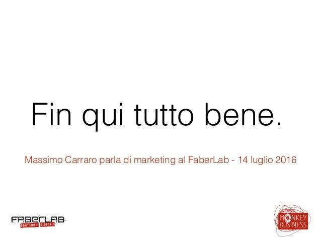 Fin qui tutto bene. Massimo Carraro parla di marketing al FaberLab - 14 luglio 2016