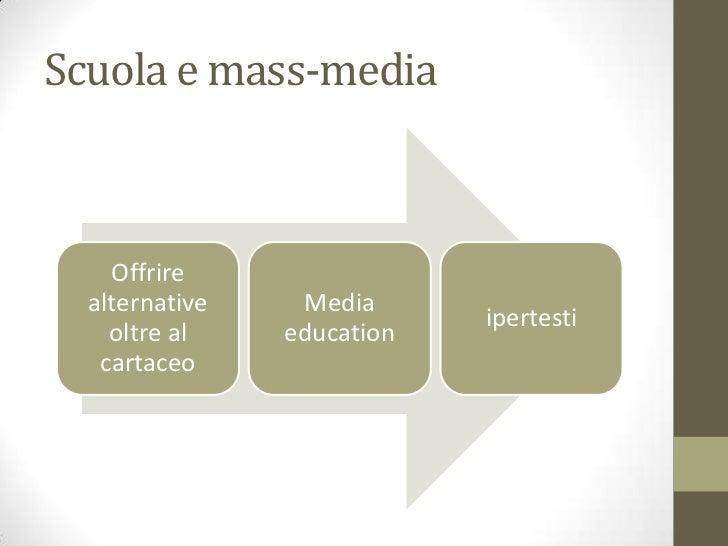 Scuola e mass-media    Offrire  alternative    Media                            ipertesti    oltre al    education   carta...