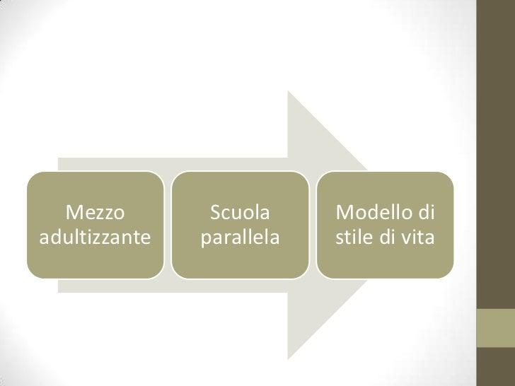 Mezzo         Scuola     Modello diadultizzante   parallela   stile di vita