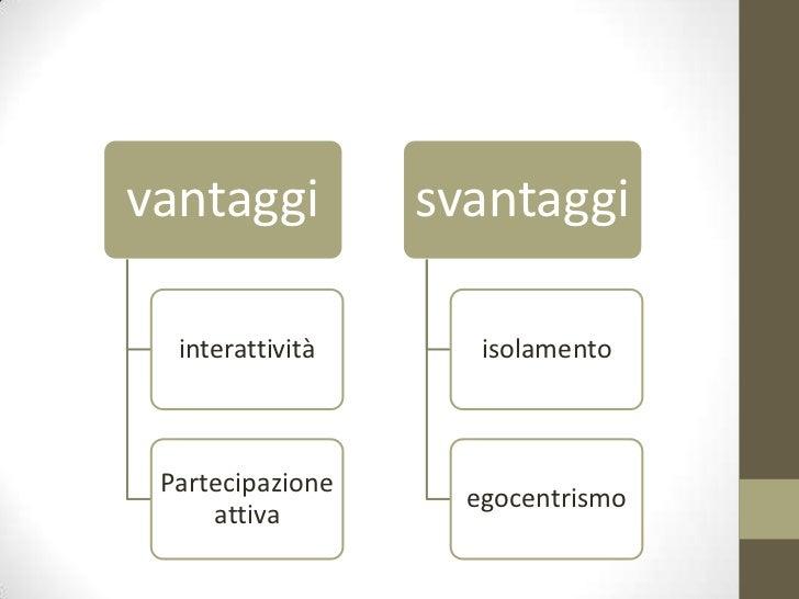 vantaggi          svantaggi  interattività      isolamento Partecipazione                    egocentrismo     attiva