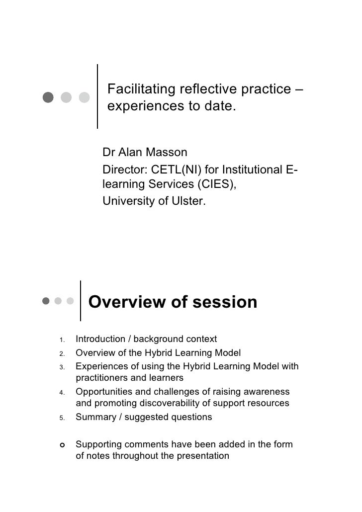 Facilitating reflective practice –              experiences to date.               Dr Alan Masson             Director: CE...